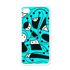 Playful abstract art - cyan Apple iPhone 4 Case (White)