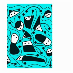 Playful abstract art - cyan Large Garden Flag (Two Sides)