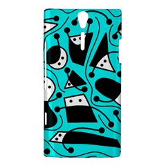 Playful abstract art - cyan Sony Xperia S