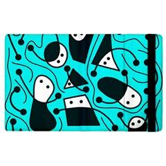 Playful abstract art - cyan Apple iPad 2 Flip Case