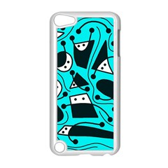 Playful abstract art - cyan Apple iPod Touch 5 Case (White)