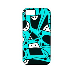 Playful abstract art - cyan Apple iPhone 5 Classic Hardshell Case (PC+Silicone)
