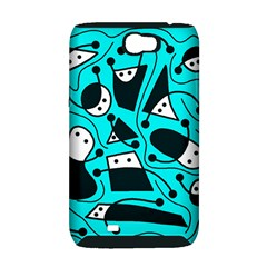 Playful abstract art - cyan Samsung Galaxy Note 2 Hardshell Case (PC+Silicone)