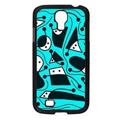 Playful abstract art - cyan Samsung Galaxy S4 I9500/ I9505 Case (Black)