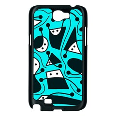 Playful abstract art - cyan Samsung Galaxy Note 2 Case (Black)