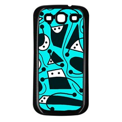 Playful abstract art - cyan Samsung Galaxy S3 Back Case (Black)