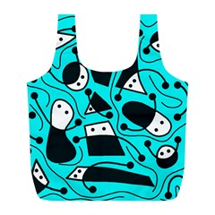 Playful abstract art - cyan Full Print Recycle Bags (L)