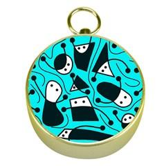 Playful abstract art - cyan Gold Compasses