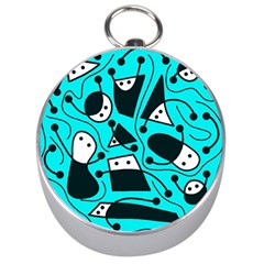 Playful abstract art - cyan Silver Compasses