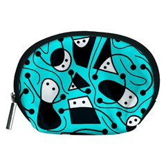 Playful abstract art - cyan Accessory Pouches (Medium)