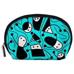 Playful abstract art - cyan Accessory Pouches (Large)