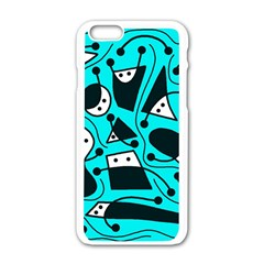 Playful abstract art - cyan Apple iPhone 6/6S White Enamel Case