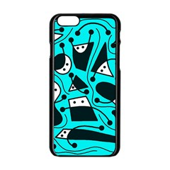 Playful abstract art - cyan Apple iPhone 6/6S Black Enamel Case