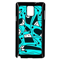 Playful abstract art - cyan Samsung Galaxy Note 4 Case (Black)