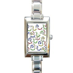 Colorful worms  Rectangle Italian Charm Watch