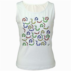 Colorful worms  Women s White Tank Top