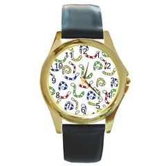 Colorful worms  Round Gold Metal Watch