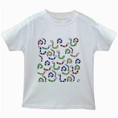 Colorful worms  Kids White T-Shirts
