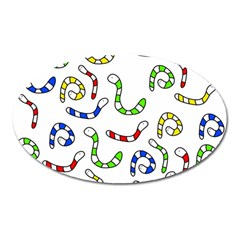 Colorful worms  Oval Magnet