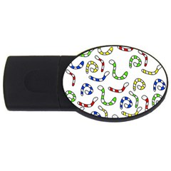 Colorful worms  USB Flash Drive Oval (1 GB)
