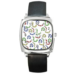 Colorful worms  Square Metal Watch