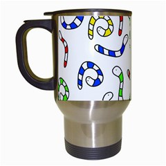Colorful worms  Travel Mugs (White)