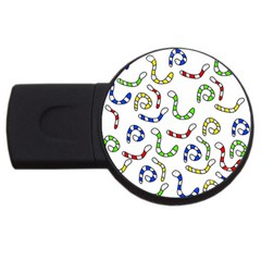 Colorful worms  USB Flash Drive Round (4 GB)