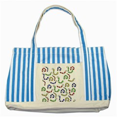 Colorful worms  Striped Blue Tote Bag