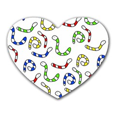 Colorful worms  Heart Mousepads