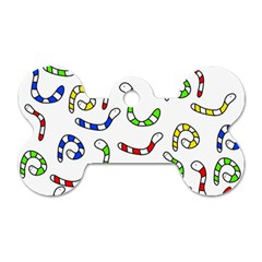 Colorful worms  Dog Tag Bone (Two Sides)