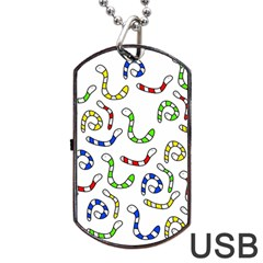 Colorful worms  Dog Tag USB Flash (One Side)