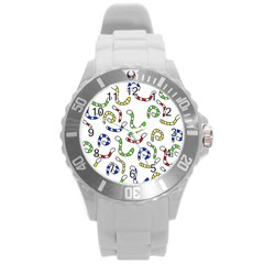 Colorful worms  Round Plastic Sport Watch (L)