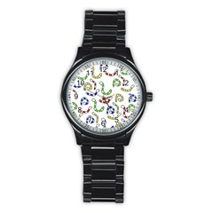 Colorful worms  Stainless Steel Round Watch