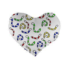 Colorful worms  Standard 16  Premium Flano Heart Shape Cushions