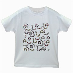 Cute worms Kids White T-Shirts