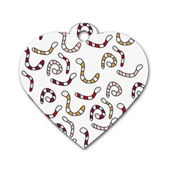 Cute worms Dog Tag Heart (One Side)