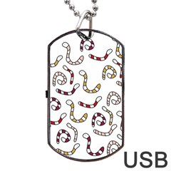 Cute worms Dog Tag USB Flash (One Side)