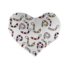 Cute worms Standard 16  Premium Heart Shape Cushions