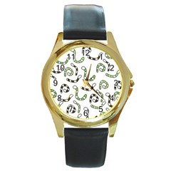 Green worms Round Gold Metal Watch