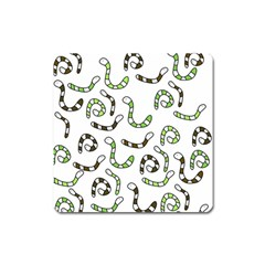 Green worms Square Magnet