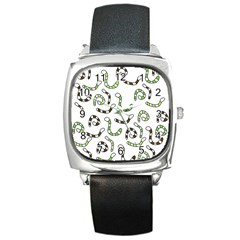 Green worms Square Metal Watch