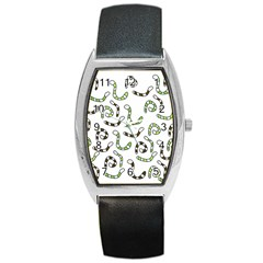 Green worms Barrel Style Metal Watch