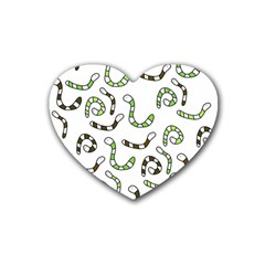 Green worms Heart Coaster (4 pack)