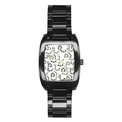 Green worms Stainless Steel Barrel Watch