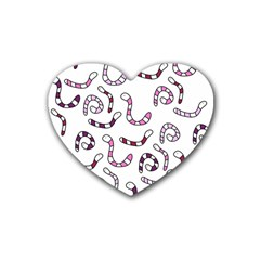 Purple worms Heart Coaster (4 pack)