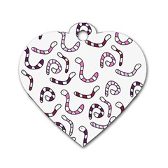 Purple worms Dog Tag Heart (One Side)