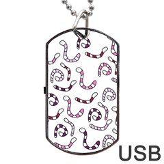 Purple worms Dog Tag USB Flash (One Side)