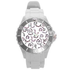 Purple worms Round Plastic Sport Watch (L)