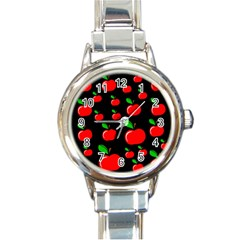 Red apples  Round Italian Charm Watch