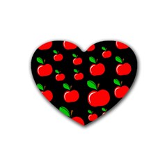Red apples  Rubber Coaster (Heart)